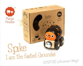 Wooden toy train Spike from 'The Groundies' series - fits standard Brio wooden railway