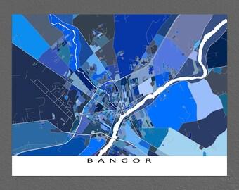 Bangor Maine Map Print, Bangor Map Art, City Artwork Prints