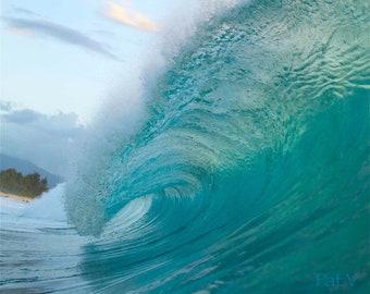 Evening Pipeline Surf Photos,Barreling Wave Wall Art,Hawaii Surfer Decor,Mint Wave Pics,Turquoise Water Photographs,Coastal Wall Decor,Fine