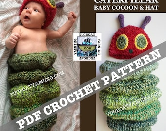 PDF PATTERN - Chubby Caterpillar Baby Cocoon and Hat - 0-3 Month Sizing