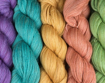 Hand dyed yarn, Lace, Baby Alpaca, Silk, Cashmere, various colourways