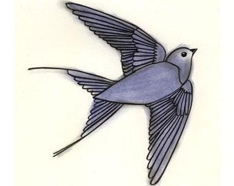 Bird Art Drawing Bird Print Bird Decor   The Blue Bird of Happiness - 4 for 3 SALE