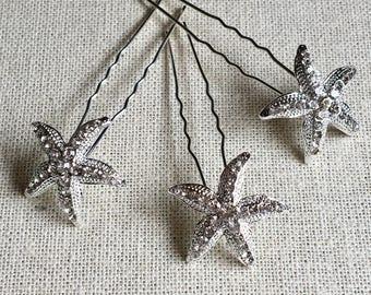 Starfish Hairpin Set, Crystal hairpins,  silver hairpin, Bridal hair accessories, destination wedding