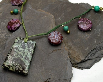 Jungle Flower Silk Cord Necklace  - Serpentine, Jasper, Freshwater Pearl and Turquoise