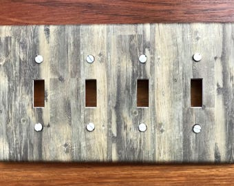 Rustic Wood Light Switch Plate Cover Planks // green gray brown image 76 // SAME DAY SHIPPING**