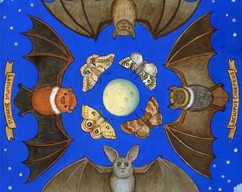 "Bats Art Illustration Print 11"" x 14"""