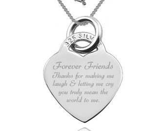 Friends Forever, Laugh & Cry, Heart Shaped Sterling Silver Necklace (can be personalized)
