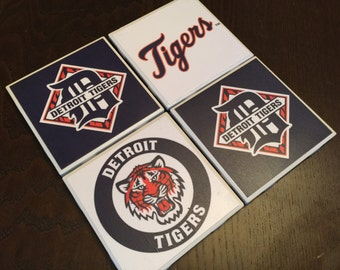 Detroit Tigers Tile Coasters hand-made great gift for any Tigers fan!