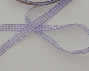 1 m purple colors Plaid satin ribbon white 10mm wide