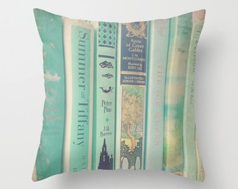 Aqua Mint Books Pillow- INSERT INCLUDED - Decor, Bedding, Nursery, Photograph, Children's Books, Library, Librarian, Literary, Literature