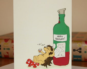 Wine Themed Birthday Card, Cartoon Hedgehog Birthday Card.
