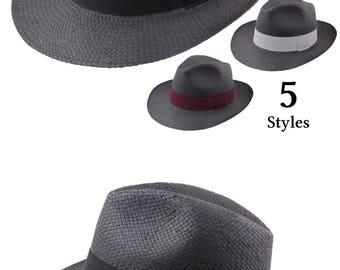 Straw Fedora Hat, Black, women's or men's hat