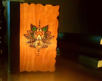 Blank Lined Journal, Lotus Pyrography Design