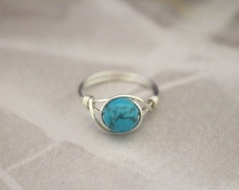 Turquoise ring, wire wrapped ring, stone ring, gemstone wire ring, silver wire ring, blue stone ring, turquoise wire ring, custom ring, cute