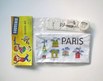 Vintage Souvenir Paris/small bag/ school kit/Paris/stocking stuffer