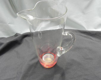 Vintage Pitcherto Mix Drinks Hand Blown Ice Lip Glass Peach Colored Bottom