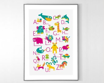 ITALIAN Alphabet Poster with animals from A to Z, BIG POSTER 13x19 inches