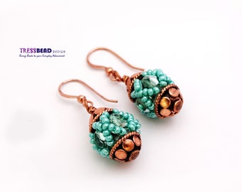 Turquoise Copper Color Beaded Bead Earrings