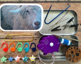 Angora Goat Knitter's Tool Tin - handmade knitting notions for your project bag!
