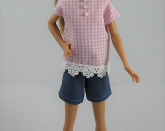 "Barbie Stacie / Vintage Skipper Pink Top and Blue Shorts / 9"" Tall Barbie Sister Doll Top and Shorts"