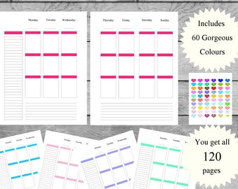 50% OFF - Letter Size Weekly Planner Pages, 2 Page Vertical Layouts, 60 Colours Included, Blank Headers, Fits Erin Condren Stickers