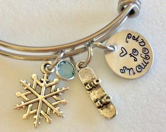 Snowboard Bangle, Snowboarding, Pewter Snowboard Charm Bracelet, Snowboarder Gift, Personalized Snowboard Bangle, Love To Snowboard