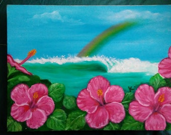 tropical surf and flowers