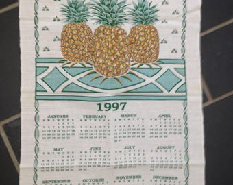 Three Pineapple 1997 Calendar Linen Towel