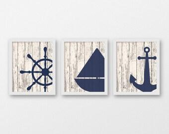 Nautical Offset Art Print Set of 3 - Nautical Decor - Wall Art - Sea Life Decor - Sailing Art - Set of 3