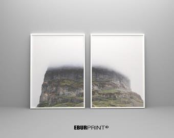 Forest Photography, Forest Print, Scandinavian Print, Foggy Forest, Minimalist 2 Piece Print, Nature Wilderness, Instant Download, Modern