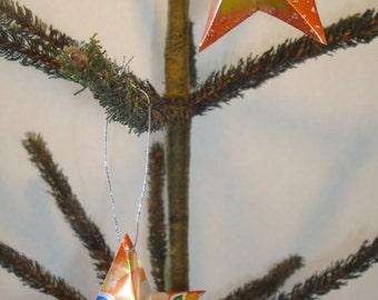 Recycled Sunkist Soda Can Aluminum Stars - 2 Upcycled Handmade Orange Christmas Ornaments or Gift Toppers