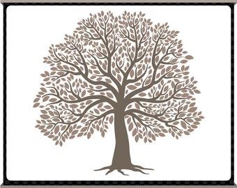 The Big Tree Digital Clip Art - Charcoal Grey - Signature Tree - Family Tree - Instant Download
