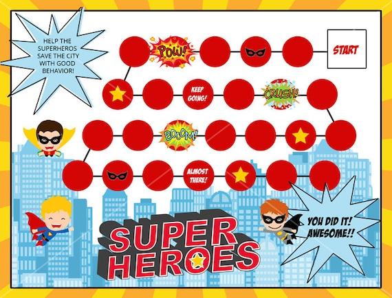 Kids Reward Chart   Superhero Printable   Behavior Chart   Routine Chart  Child Reward Chart Template
