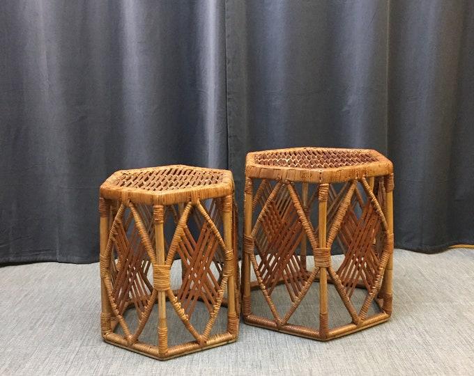 1970s cane nest of hexagonal tables