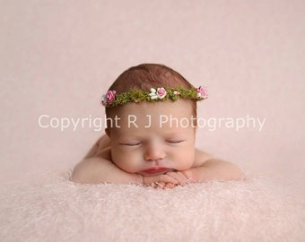 Pink Moss Rustic Woodland Flower Crown Halo Newborn Baby Photography Photo Prop or Flower Girl Accessory