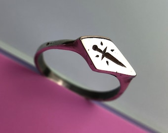 Protection Signet Ring - Sterling Silver - Stacking ring Lost wax casting