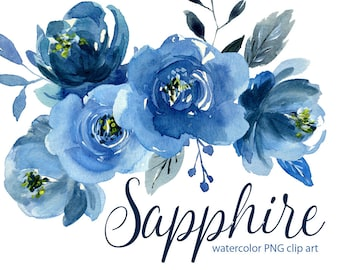 Watercolor flower clipart indigo blue roses flowers Aquarelle Clip Art navy sapphire watercolour boho floral peony Free Commercial Use PNG