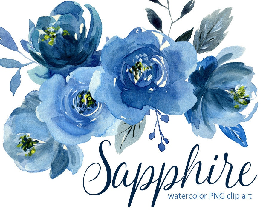 Watercolor Flower Clipart Indigo Blue Roses Flowers Aquarelle