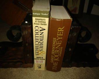 2 Vintage Wooden Book Ends.