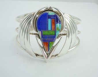 Vintage Sterling Silver Cuff Bracelet, Native American, Navajo, Genuine Inlaid Stone, P. Sanchez