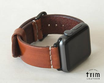 Apple Watch Band 42mm 38mm Leather Watch Band Leather iWatch Strap Minimal Series 1 2 3 Saddle Brown [Handmade] [Custom Colors]