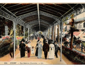 Covered Gallery, Vichy, France Photo Postcard, c. 1910