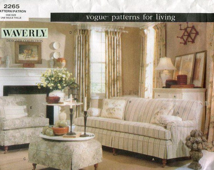 Free Us Ship Vogue 2265 Patterns for Living Waverly Designer Collection Sofa Chair Slipcovers Uncut Sewing Pattern Out of Print