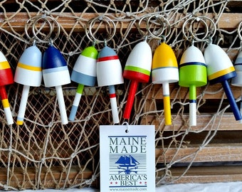 Key Chains, Miniature Maine Lobster Buoys, Wedding Favors, set of twelve, mixed colors