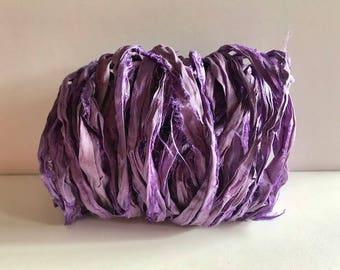 Silk Sari Ribbon-Orchid Recycled Sari Ribbon-10 Yards