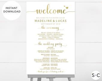 GOLD Wedding Welcome Sign, Program Sign, Wedding Program Sign, Wedding Signage, Wedding Programs, Large Program Sign, DIY Wedding