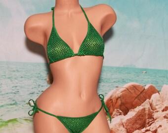 Green Sequin (Semi Sheer) & Green Trim Full Coverage Top Full Coverage Scrunch Butt Micro String Bikini Set One Size