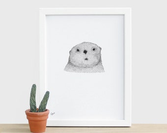 Curious Otter A5 Print Otter Print Cute Animal Print Small Wildlife Nature Drawing Risograph