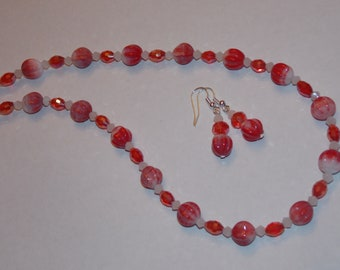 Red White Melon and Red Oval Czech Glass White Crystal Necklace and Earrings Set