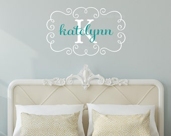 Swirl Frame Monogram Name Wall Decal • Personalized Name and Initial Wall Decal for Girls Room Decor